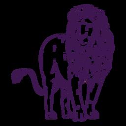 Leão de animal selvagem desenhado à mão