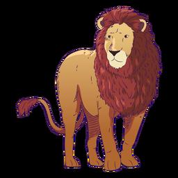 Leão de animal selvagem desenhado à mão colorido