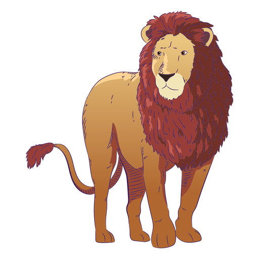Dibujado a mano animal salvaje león colorido
