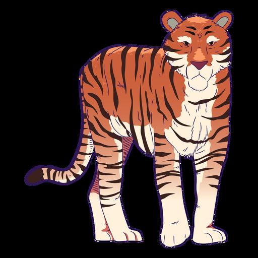 Dibujado a mano tigre animal salvaje colorido