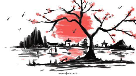 Ilustración de paisaje de acuarela japonesa