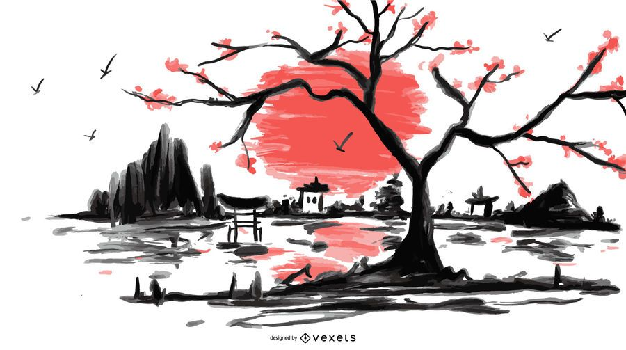Ilustração de paisagem japonesa em aquarela
