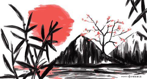 Ilustração de aquarela de paisagem do Japão