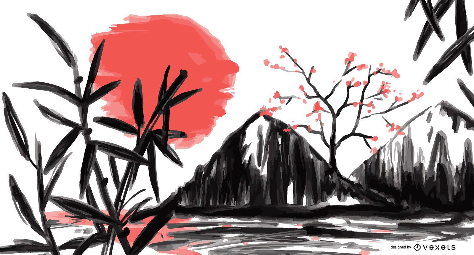 Ilustração em aquarela de paisagem do Japão