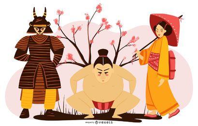 Conjunto de diseño de personajes japoneses