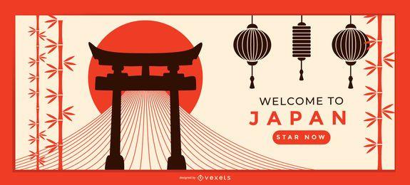 Plantilla de página de destino de bienvenida a Japón