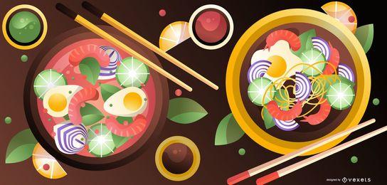 Ilustração de comida de ramen japonês