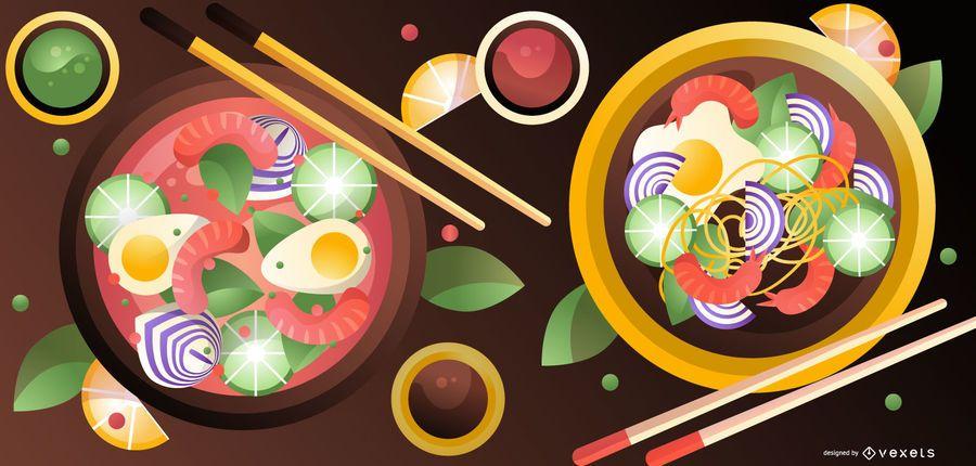Ilustración de comida japonesa de ramen