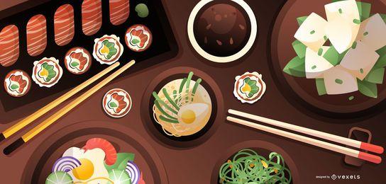 Diseño de mesa de comida japonesa