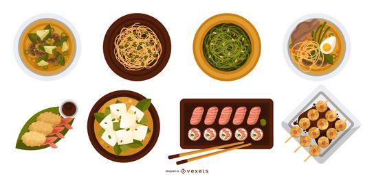 Projetos de vista superior de comida japonesa