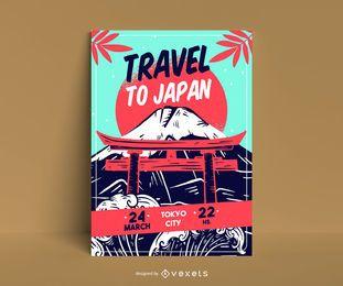 Reise nach Japan Plakat Vorlage