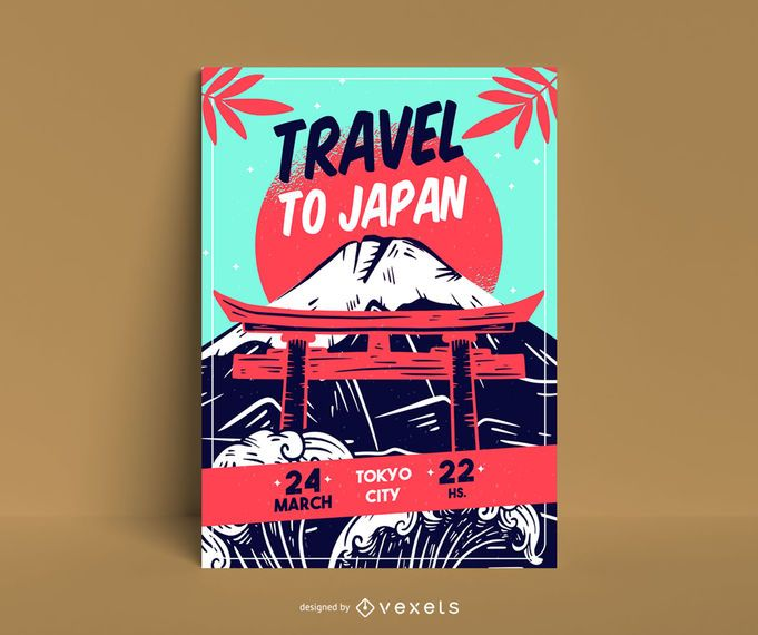 Travel to japan poster template