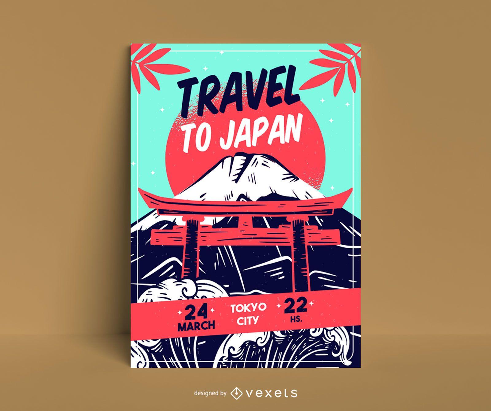 Modelo de pôster de viagem para o Japão