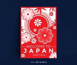Plantilla de póster de flor de cerezo de Japón