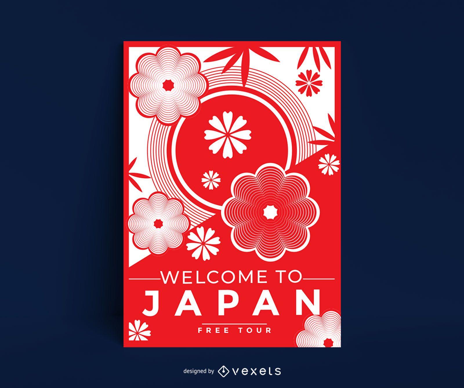Plantilla de cartel de flor de cerezo de japón
