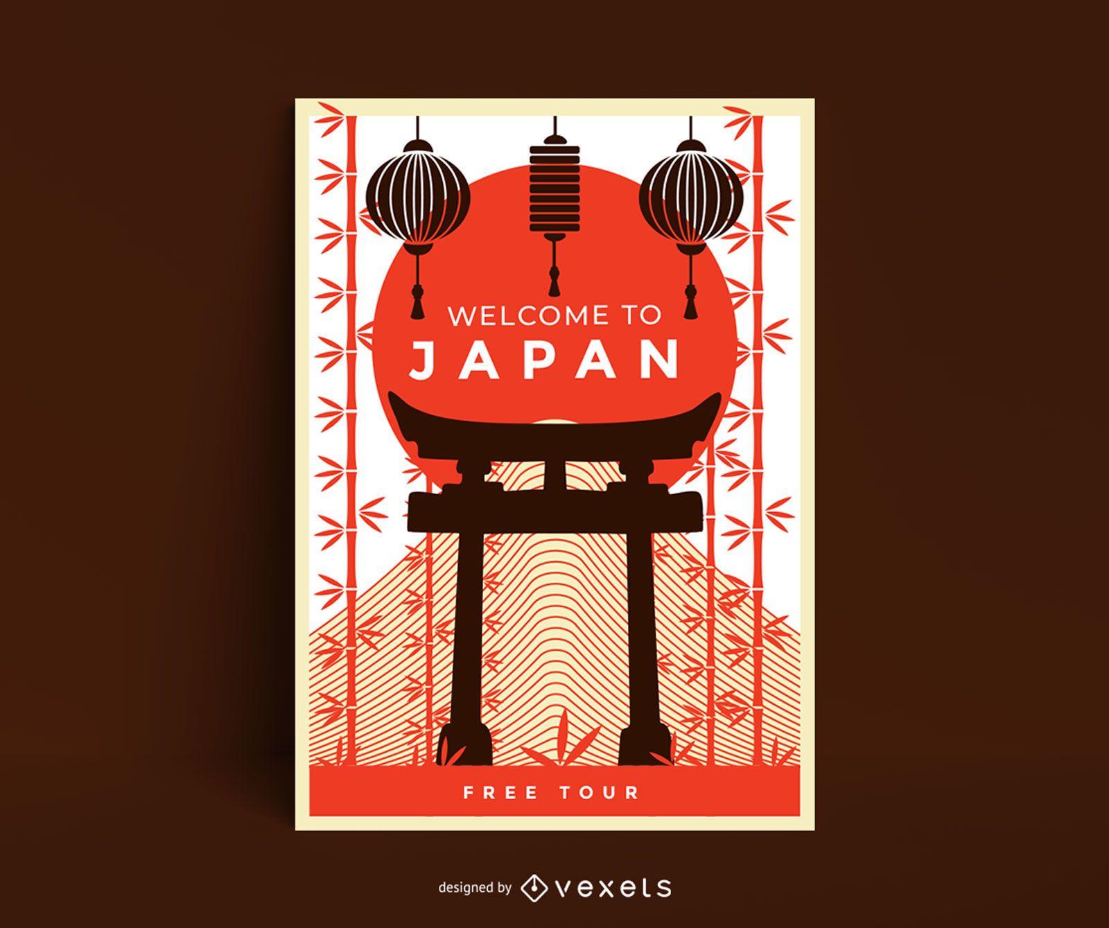 Bienvenido a plantilla de póster de japón