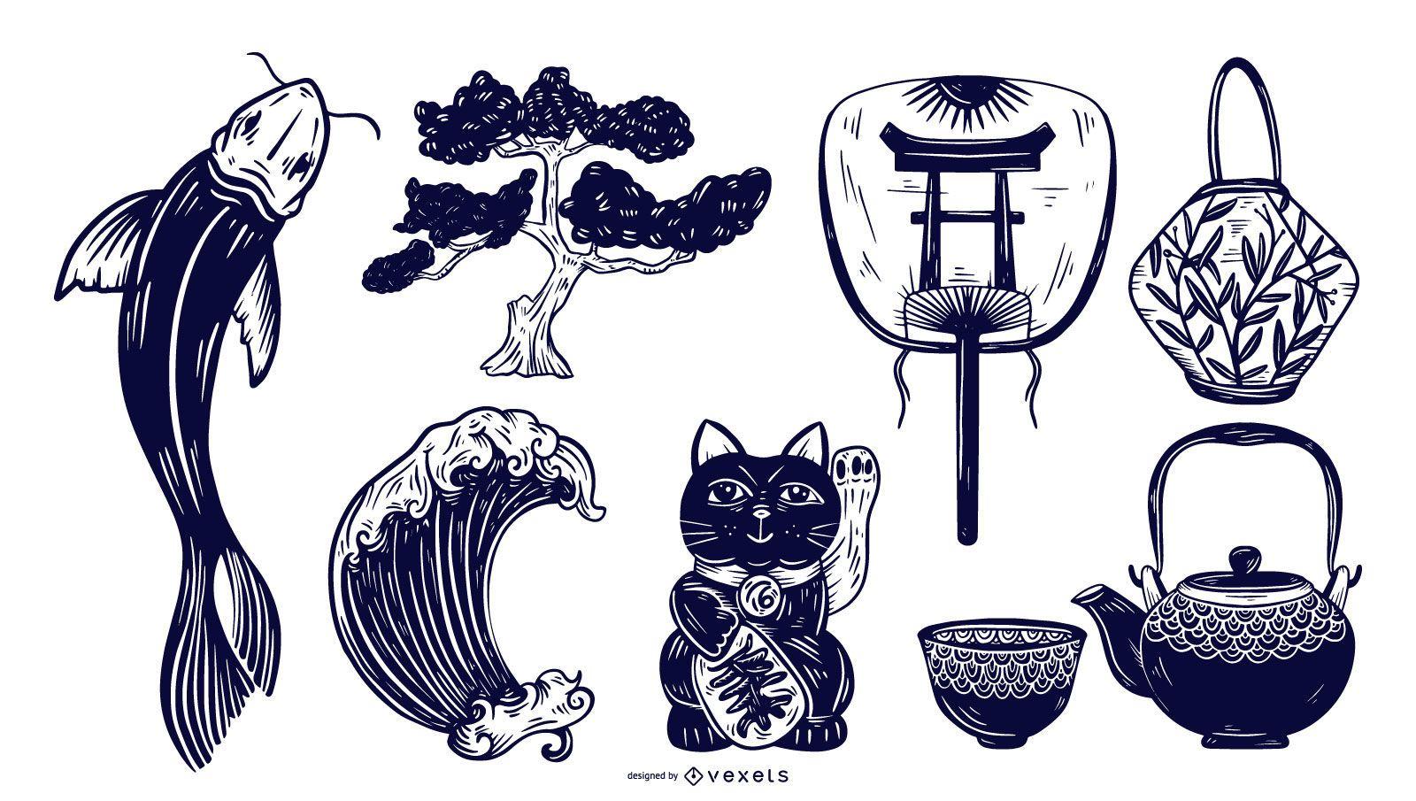 Japanese Elements Monotone Set