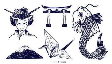 Conjunto de diseño monótono de elementos japoneses