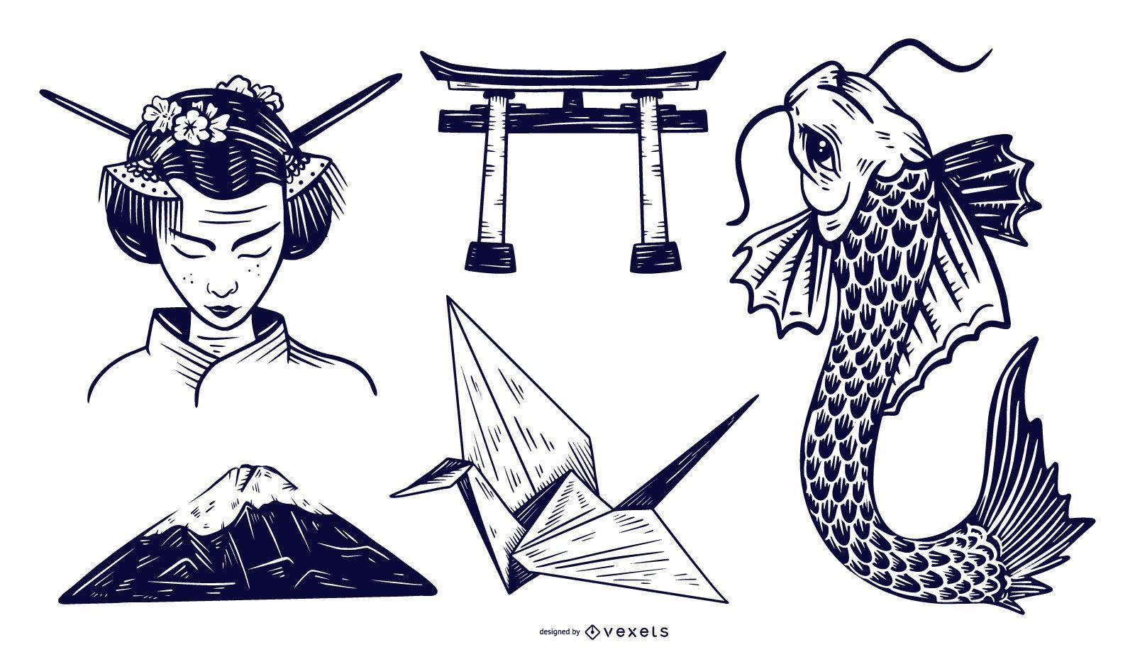 Japanese Elements Monotone Design Set