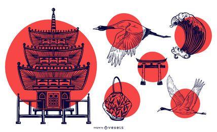 Elementos de Japón con paquete de diseño de sol