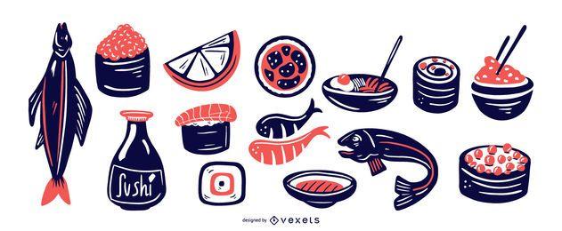 Pacote de elementos de comida japonesa Duotone