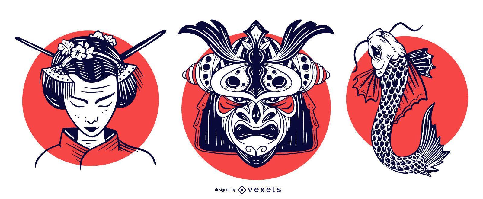 Japan Elements With Sun Design Set