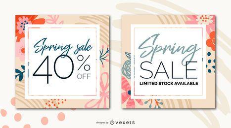 Conjunto de banners de venda de primavera