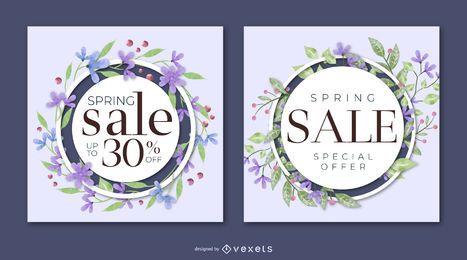 Conjunto de banner floral de venda de primavera