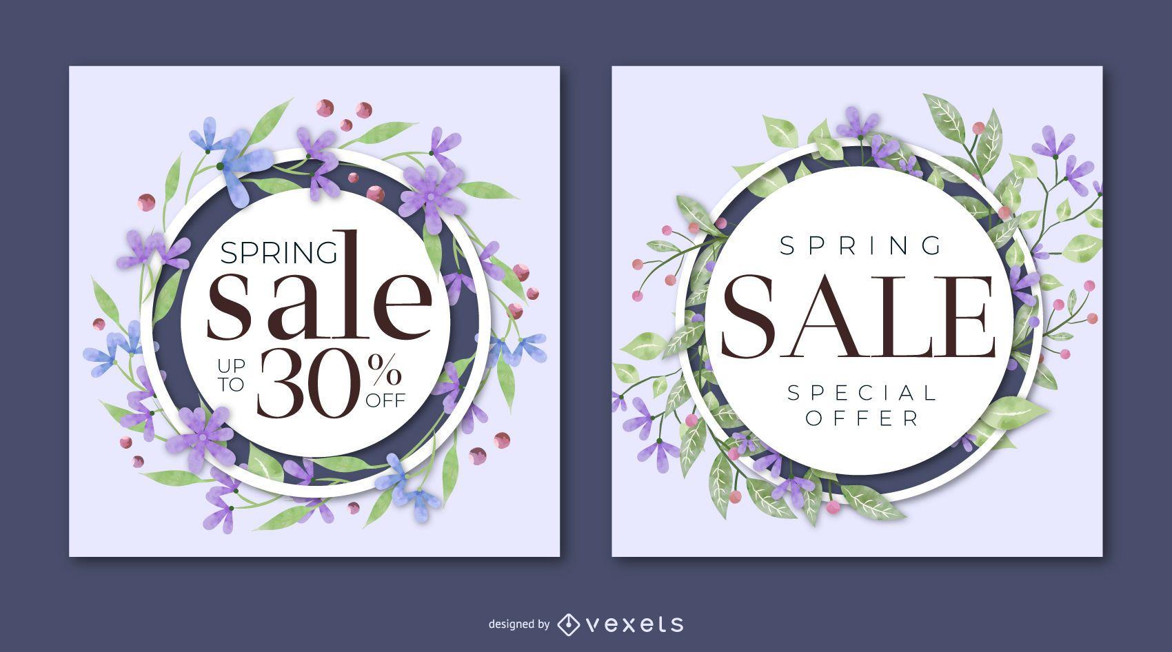Spring sale floral banner set