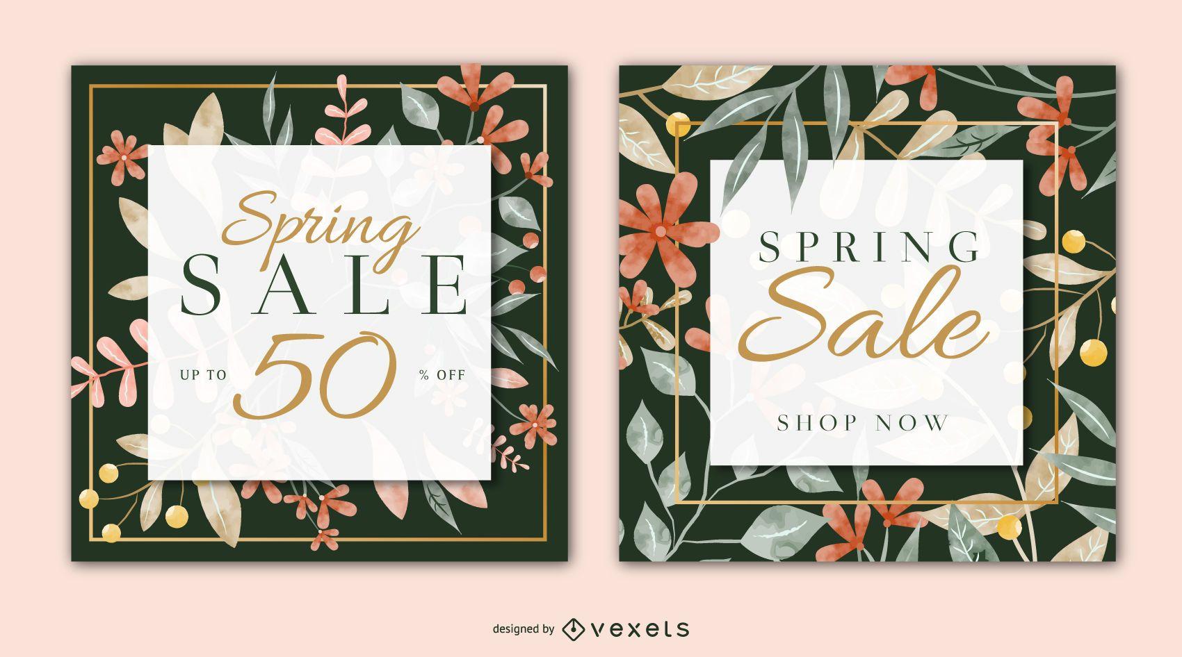 Conjunto de banner cuadrado de venta de primavera