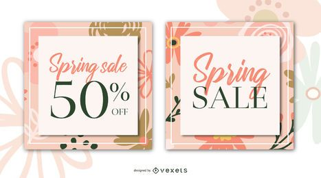 Spring sale flowers banner set