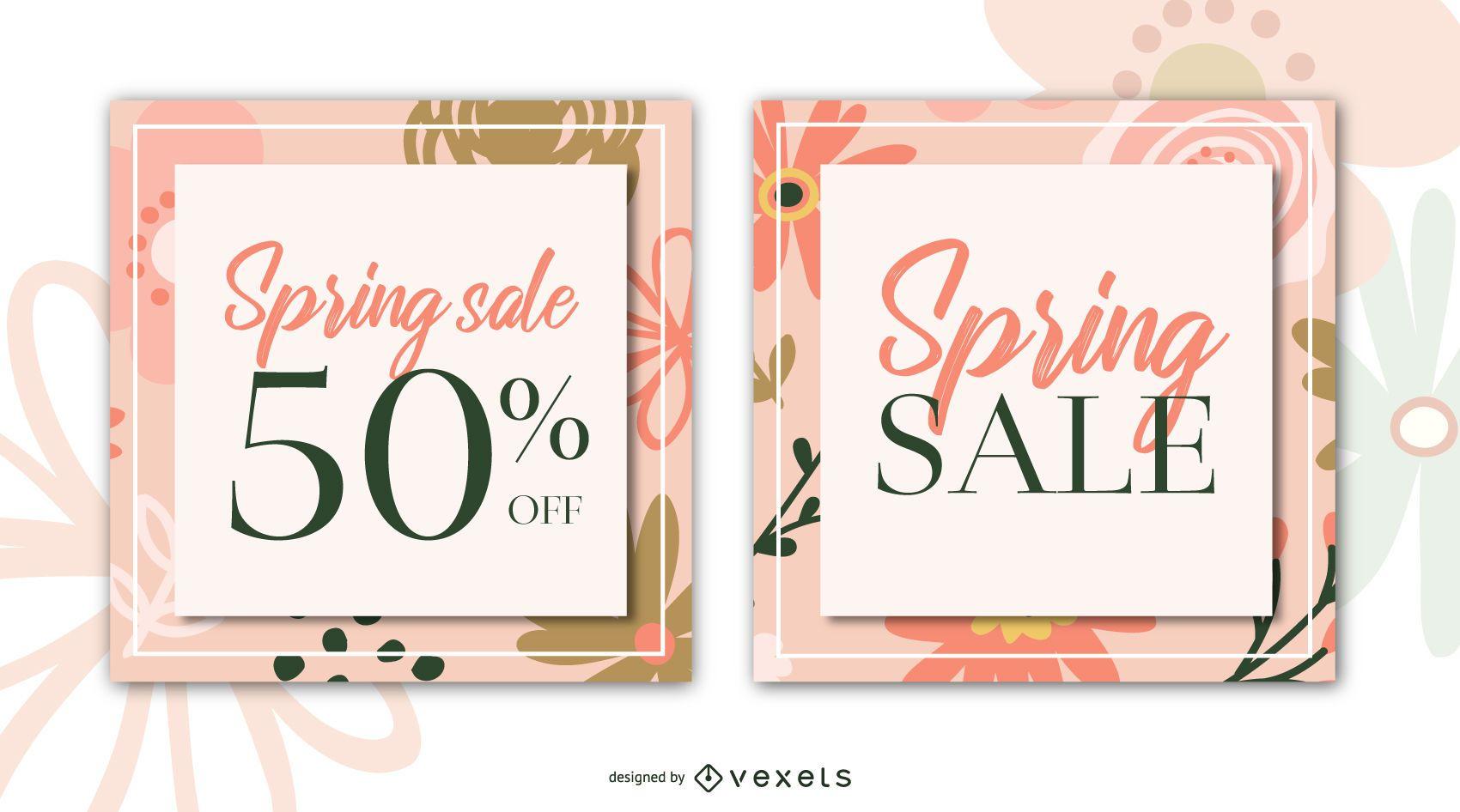 Spring sale flowers banner set
