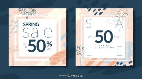Spring sale abstract banner set