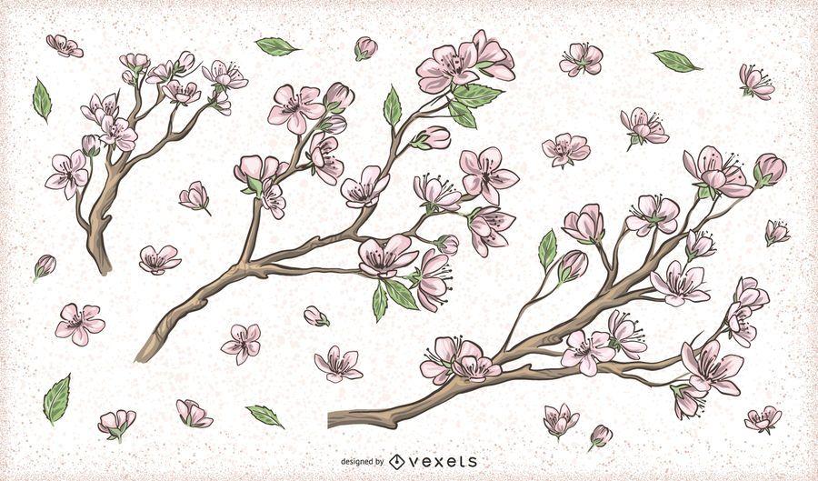 Diseños de rama de árbol de flor de cerezo en flor