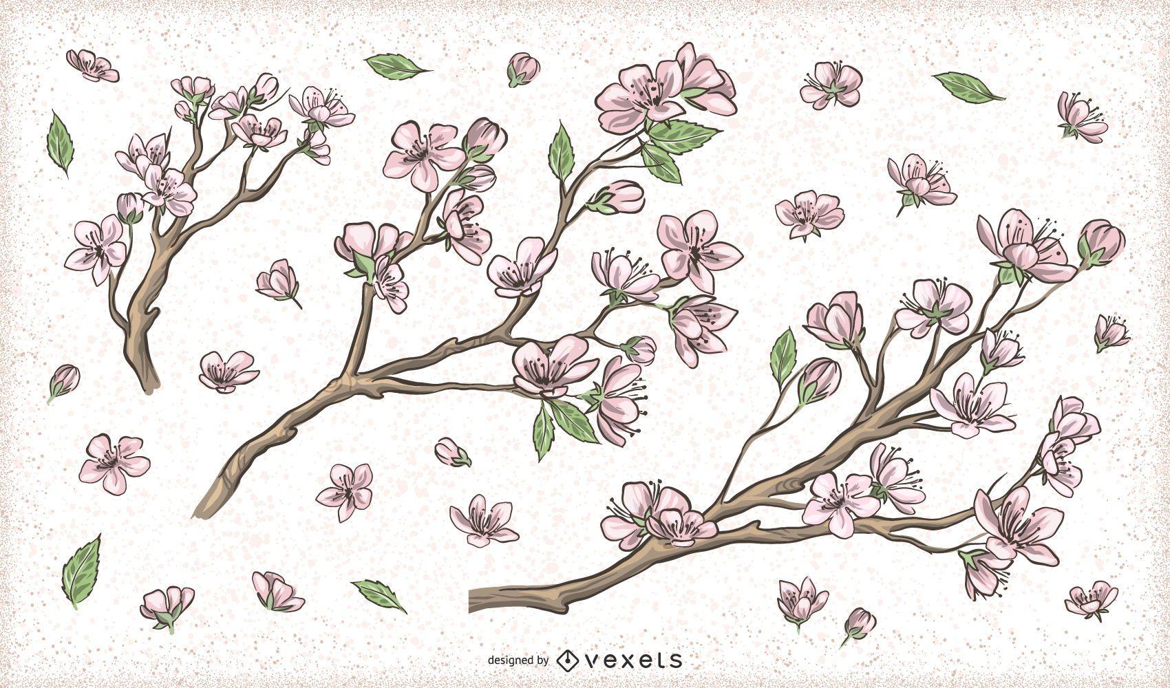 Diseños de rama de árbol de flor de cerezo