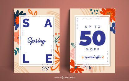 Conjunto de pôsteres de venda de primavera