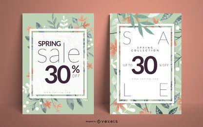 Conjunto de cartaz floral de venda primavera