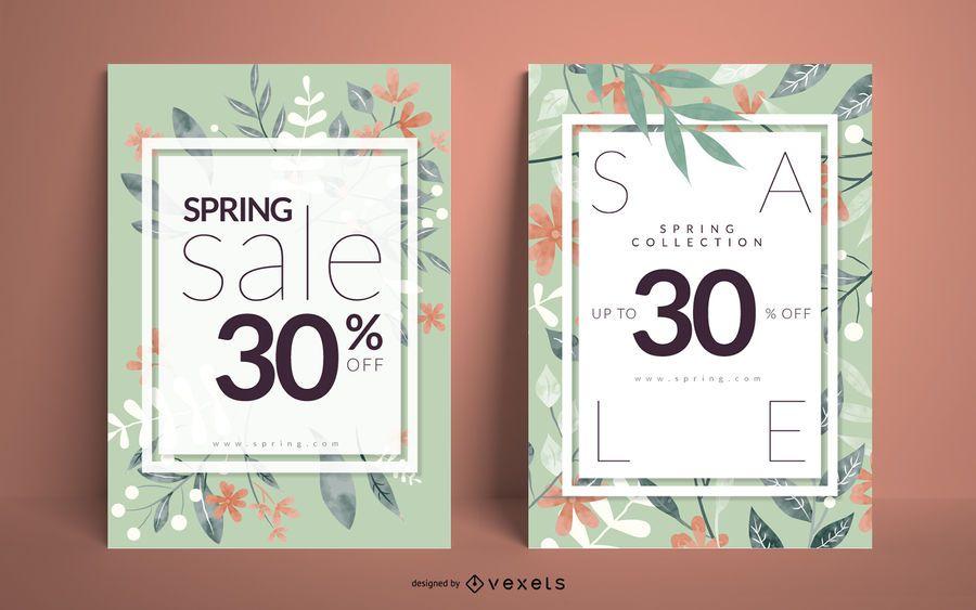 Conjunto de carteles florales de venta de primavera