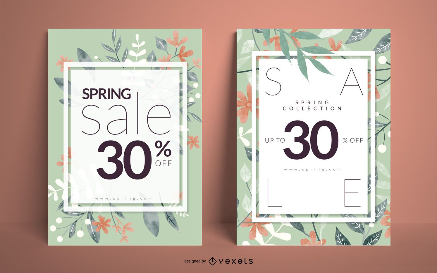 Conjunto de carteles florales de rebajas de primavera