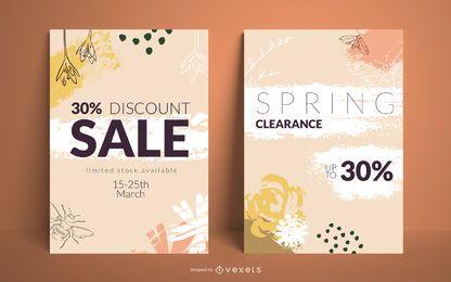 Conjunto de carteles de venta de primavera