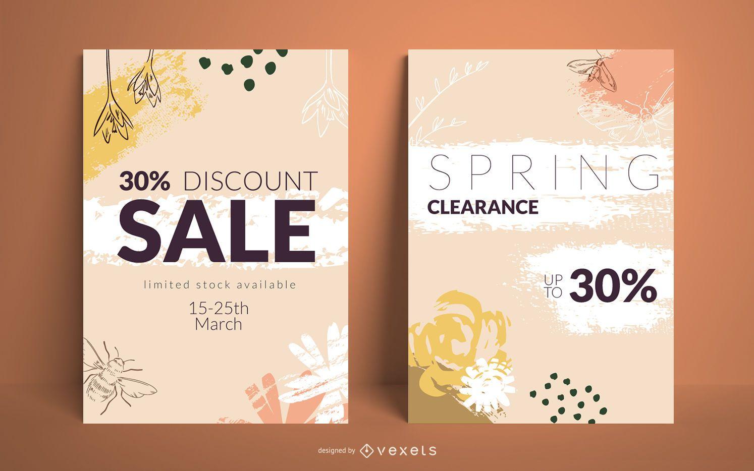 Spring sale posters set