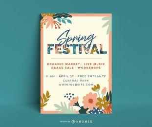 Plantilla de cartel floral del festival de primavera