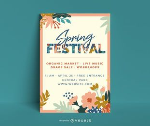 Spring festival floral poster template