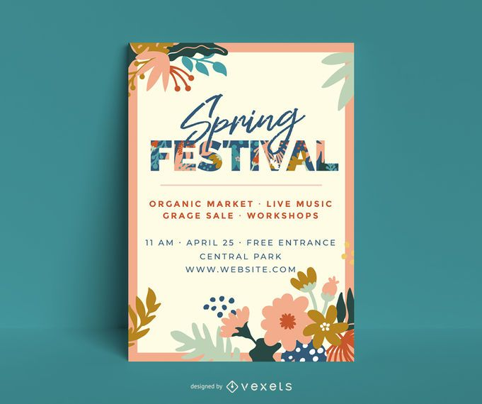 Spring festival floral poster template