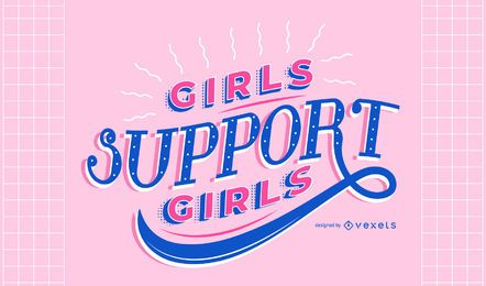 Women's day girls support lettering