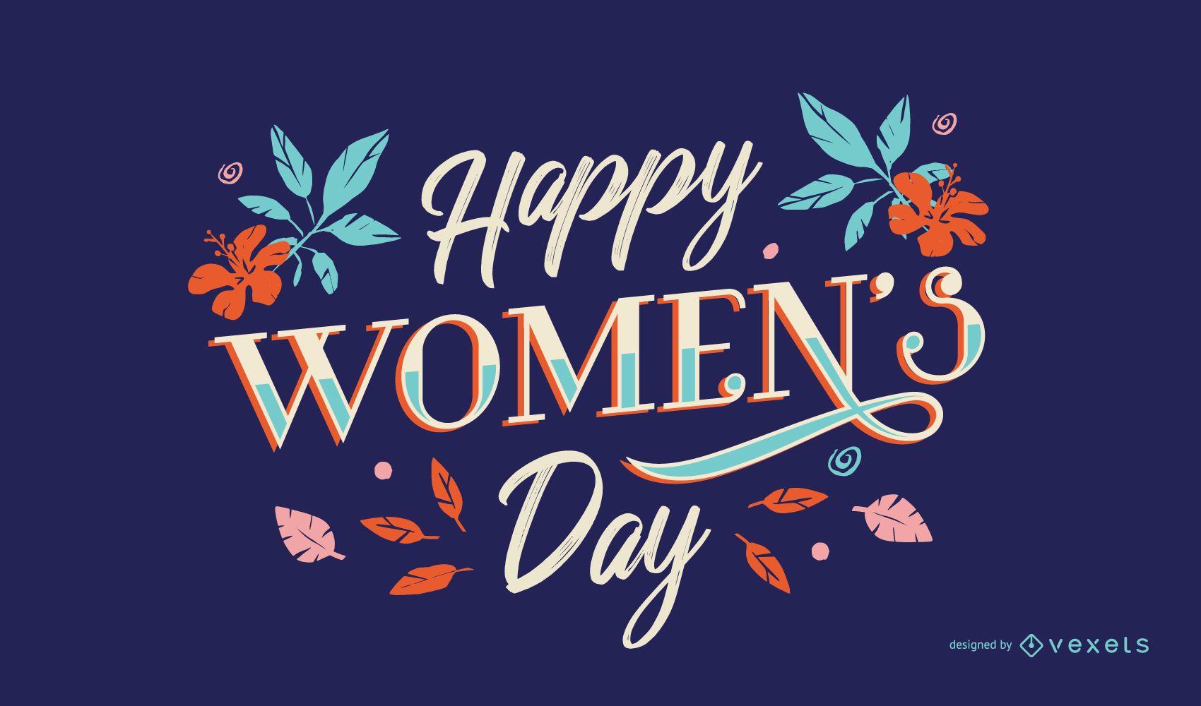 Happy women's day lettering