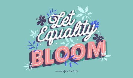 Gleichheitsblüte Schriftzug zum Frauentag