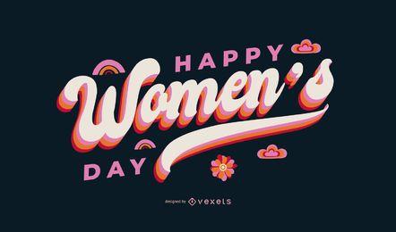 Feliz dia da mulher letras design