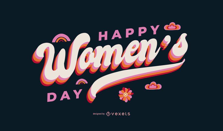 Happy women's day lettering design