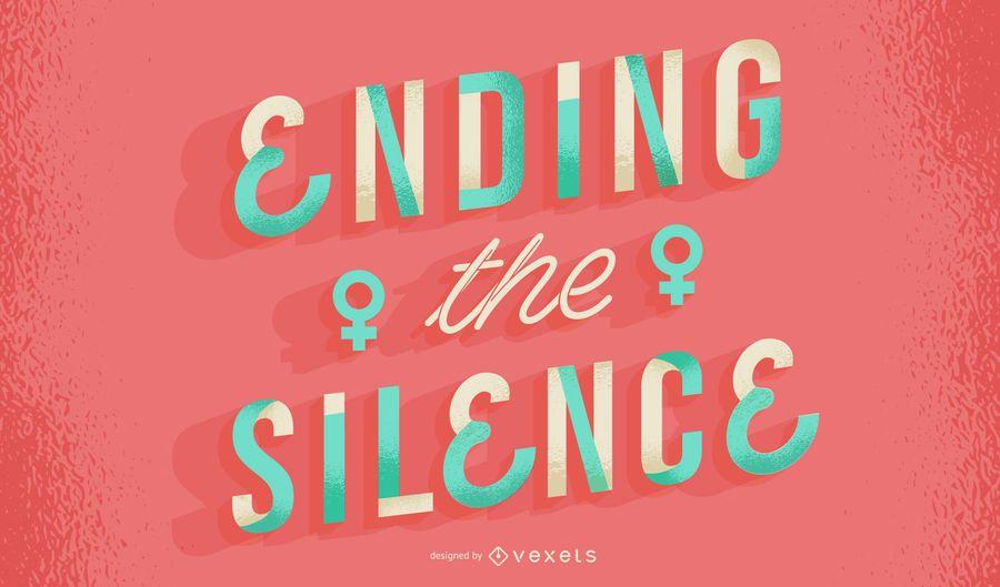 Ending silence women's day lettering